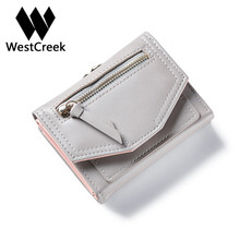 Westcreek Brand Best lady PU Leather Zipper Hasp Short Wallet Simple and stylish multi Card Purse(China)