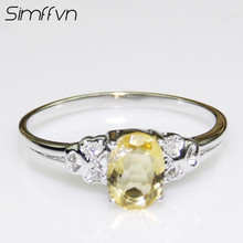 Simffvn 925 Sterling Silver 5*7mm Oval Cut Natural Citrine For Women Engagement Rring Anniversary Gemstone  Ring