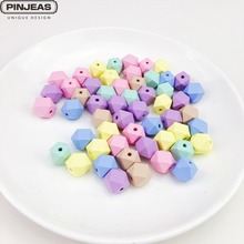 PINJEAS Wooden Octagonal Beads 16mm 100PC Wedding Curtain Making Gland Crafts Candy Color Kid's Room DIY Ornament Children Toys
