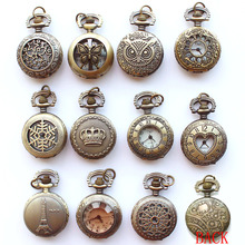 12pcs/Lot, Mixed Bulk Vintage Elegant Golden Brown Quartz Fob Pocket Watch With Sweater Necklace Chain Women Dress Watch(China)