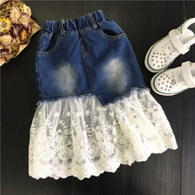 2017 New Girls Skirts Kids Summer Jeans Skirts Baby Lace Patchwork Skirt Toddler Fashion Skirt,2-7Y(China)