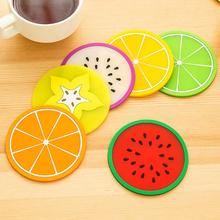 Round cartoon jelly fruit shape cup mat antiskid insulation pad creative bowl pad colorful candy color fruit shape cup mat(China)