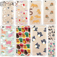 Lovely Anti Shock Case for iPhone 6 6 Plus 6S 5 5S SE Cute Pet Dog Cow Coque Shock Proof Shell Elephant Flying Clear Air Bag