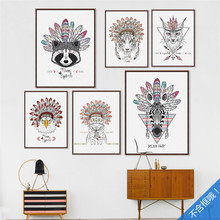 10pcs/set  Frameless Modern Indian small animals headdress poster and prints, kid's room decoration decorative paintings DP0077