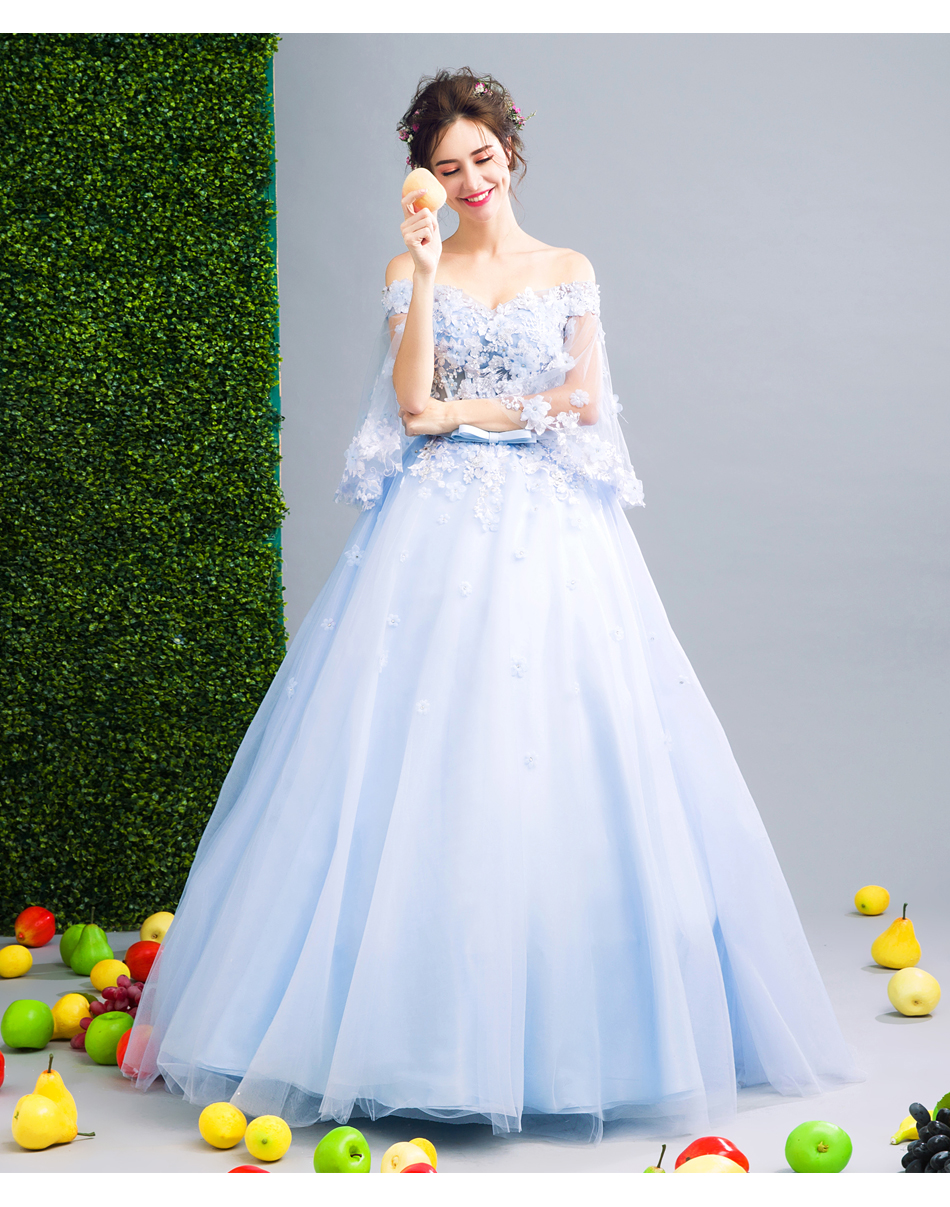 Angel Wedding Dress Marriage Bride Bridal Gown Vestido De Noiva Fairy, blue, handmade petals 2017 257 13