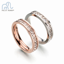 Rose Gold Color Stainless Steel Rings Promised White Crystal AAA Zircon Ring Couple Lover Engagement Wedding Accessories Jewelry