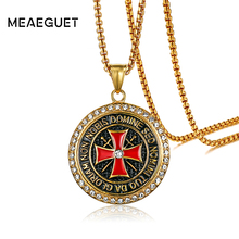 Meaeguet Exclusive Retro Knights Templar Iron Cross Pendant Necklace For Men Stainless Steel Biker Maltese Cross Jewelry(China)