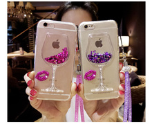 3D Liquid Quicksand Bling Rhinestone Wine Glass Pattern Phone Case with Hang Rope For Huawei p8/p9 lite/Mate7/8/P9/p9 plus