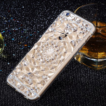 3D Stereoscopic Diamond Glitter Sunflower Pattern Soft TPU Case For iPhone 5 5S 6 6s 7 Clear Crystal Rubber Mobile Phone Cover