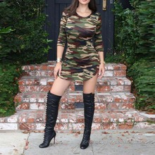 Military Army Camouflage Print 2017 New Fashion O-Neck Three Quarter Sleeve Summer Dresses Sexy Dress Women Clothing