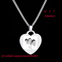 Personalised Gift 316L Stainless Steel  Personalized Name Photo 3 Colors Heart  Dog Tag Pendant Necklace Customized Necklace