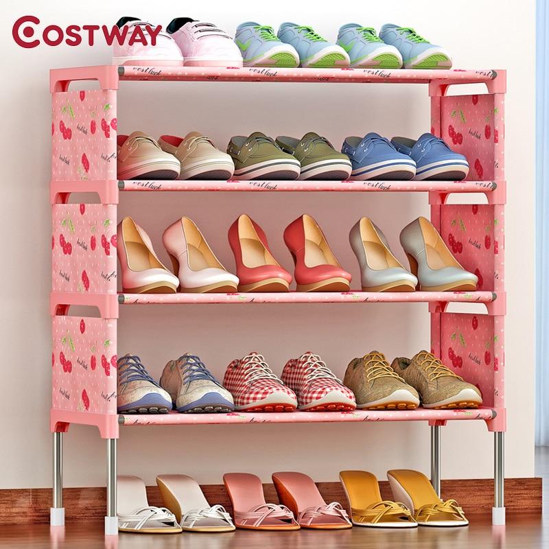 Cheap European high grade shoe storage rack shelves iron layer ...