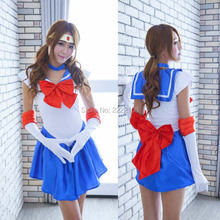 2017 New Pretty Soldier Sailor Moon Cosplay Costume female halloween party Fancy Outfits Dress Halloween Costume,Free Shipping(China)