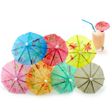 144Pcs/Box Paper Drink Cocktail Parasols Umbrellas Luau Sticks POP Party Wedding Paper Umbrella Decoration High Quality(China)