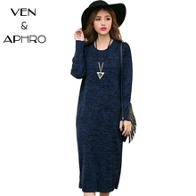 VA Women Dress 2017 Autunm Winter Knitted Sweater O Neck Long Mid Calf Vintage  Loose Warm Pullover Dresses Plus Size 3XL P00795