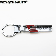 New 1pcs fashion S line alloy metal stainlees steel car key ring chain keychain keyring for audi A4L A6L Q3 Q5 Q7 accessories