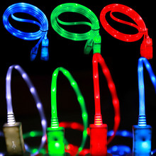 1M Colorful LED light luminous phone charger charging data sync transfer line cord cable wire for iPhone 4 4s 5 5s 6 6s 7 plus