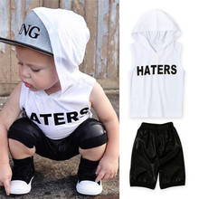2017 Fashion Children Set Summer Boys Set Kids 2pcs White Hooded Sleeveless T-shirt+Black Short Pant Kids Cool Clothes Set