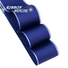 (10 yards/lot) Silvery Edge Dark Blue Grosgrain Ribbon Wholesale Gift Wrapping Christmas ribbons(China)
