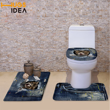 HUGSIDEA 3pcs/set 3D Cat Animal Print Padded Toilet Seat Cover Set Fashion Non-slip Mat Santa Toilet Lid Cover Mats and Rugs
