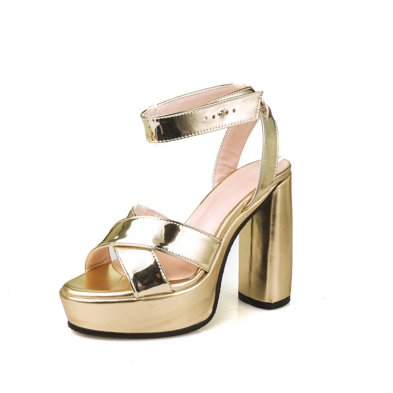 35-43 Platform Sandals Women Square Heel High Heel Women Sandals Gold Silver Plus Size<br>