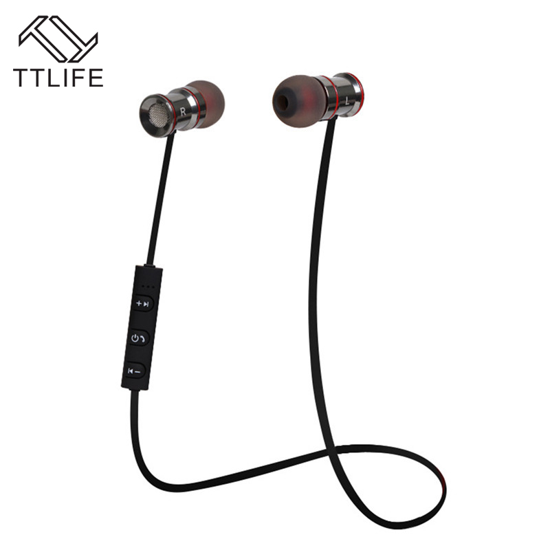 TTLIFE Brand Wireless Voice control Earbuds Stereo Earpiece For a Mobile Phone Mp3 New Magnetic Metal Sports Bluetooth Earphones<br><br>Aliexpress