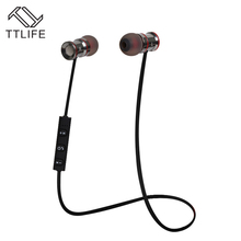 TTLIFE Brand Wireless Voice control Earbuds Stereo Earpiece For a Mobile Phone Mp3 New Magnetic Metal Sports Bluetooth Earphones(China)