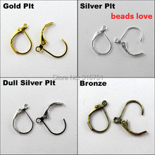 Pick 4 Colors 100pcs Ear Wire Hooks Stopper Clips&Locks/Earring Posts W/Stoppers 16x11mm Nickel FREE( w02910)(China)