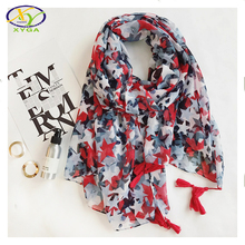 1PC 2017 Red Tassels Long Women Scarf Spring Soft Cotton Female Scarves Stars Shawls Wraps Thin Casual Lady Pashminas XY-64(China)