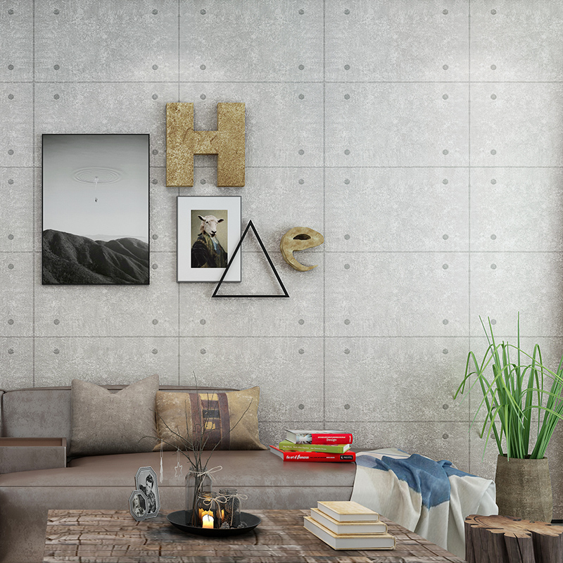 Living Room Bar Restaurant Cafe Industrial Wind Wallpaper Gray Fake Brick Square Concrete Wall Rivet Background Wallpaper<br>