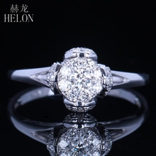 HELON Solid 14K White Gold 6mm Diameter Brilliant Diamond Engagement Solitaire & Accents Ring Romantic Wedding Unique Fine Ring(China)