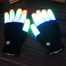 Fashion Halloween Cool LED Rave Flashing Gloves Glow 6 Mode Light Up Finger Lighting Black
