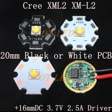 Cree XML2 XM-L2 T6 10W High Power LED Emitter Cool White Neutral White Warm White 20mm Black or White PCB + DC3.7V 2.5A Driver