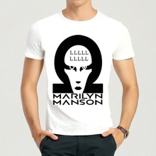 Marilyn Manson Brian Hugh Warner T-Shirt Short White Cute Marilyn Manson Top Tees Tshirt(China)