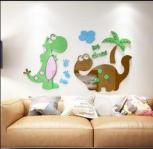 Best Birthday Christmas Gift Cute Dinosaur Design Colorful Acrylic Wall Stickers for Kids Room Kindergarten Decoration(China)