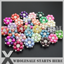 Round Metal Pearl Rhinestone Embellishments Button with Shank for Flower Center (4 LOTS TO GET 10% OFF,DHL/EMS FREE SHIPPING )