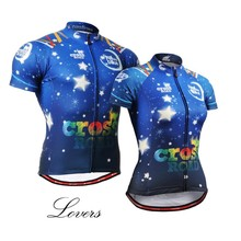 For LOVERS Cycling Tops Tee Jerseys Couples Bike Jersey Short Sleeve Bright Star Sky Blue Couture Bike clothing