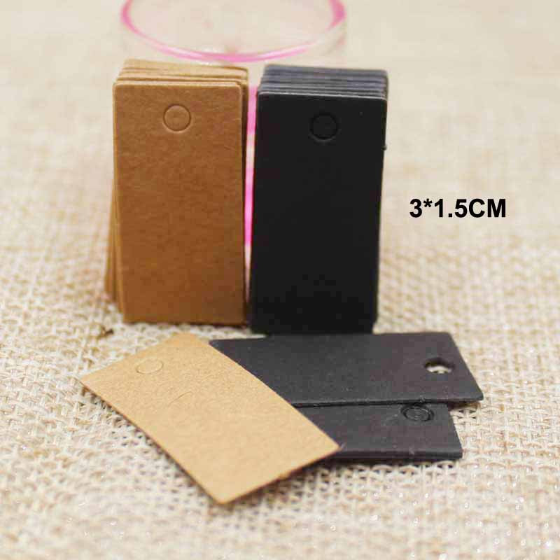 3*1.50cm handmade black/brown tags small products hang tags 100pcs paper clothing tag , Price Label custom logo cost extra(China (Mainland))