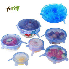 YOTOP 6Pcs/Set Universal lid Silicone Saran Food Wrap-bowl Pot Stretch Lids Cover Pan Vacuum Lid Sealer  Kitchen Tools