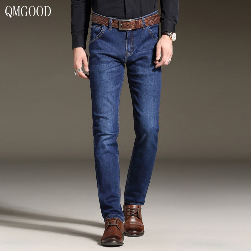 QMGOOD 2017 High-quality Four Seasons New Elastic Slim Mens Denim Trousers Large Size Cotton Business Casual Jeans Men 40 42 36Îäåæäà è àêñåññóàðû<br><br>