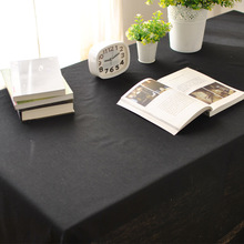 American Style Restaurant Cafe Solid Cotton Linen Black Tablecloths For Wedding Party Round Rectangle Table Cloth Covers