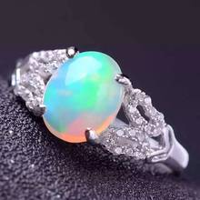 100% Fidelity Natural opal Rings s925 sterling silver Natural 7*9mm color gemstone lace rings Brilliant fine Jewelry for women(China)