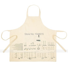 New White Cotton Kitchen Apron Printed with Commonly Used for Cooking and Baking Logo Kitchen Tools 300g M3003(China)