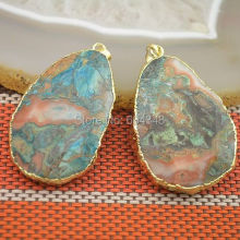 5pcs Natural Ocean  Druzy Gem stone Pendant, Slab  Pendant, Gold Color Drusy Stone Jewelry Pendant