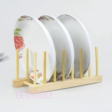 New Wooden Plate Stand Wood 7 Dish Rack Pots Cups Display Drainer Holder Kitchen JJ2834