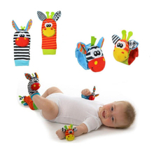 New A Pair Baby Infant Toy Soft Handbells Hand Wrist Strap Rattles/Animal Socks Foot Finders Stuffed Toys Christmas Gift(China)