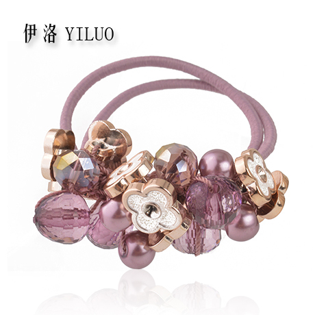 Women Hair Accessories Crystal Hair Rope Beads Scrunchie Hair Ties Flower Elastic Hair Bands For Girls(China)