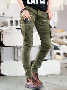 Elastic Jeans Skateboard Runway Trouers Washed Distressed Hip-Hop Slim Green Mens Skinny