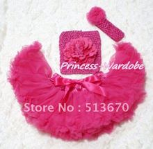 Hot Pink Baby Pettiskirt, Hot Pink Peony Hot Pink Crochet Tube Top, Hot Pink Rose Headband 3PC Set MACT122