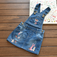 Mom's care Cute Bird and Flower Embroidery Girls Denim Sundress Childrens Dresses Kid Suspender Dress Child Baby Clothing Summer